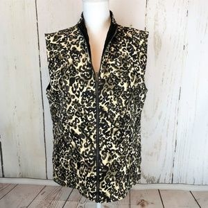 Chico's Travelers Leopard Print Quilted Vest
